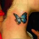 Tatto Kupu-Kupu Cantik Indah di Leher